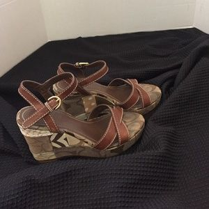 Coach Signature CC Leather Ankle Strap Wedges 5.5